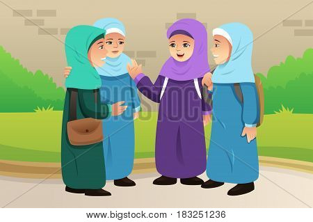 A vector illustration of Muslim Children Talking Together