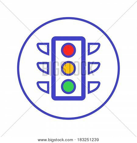 Traffic light circular line icon. Round sign. Flat style vector symbol