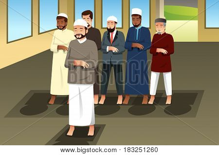 A vector illustration of Muslim Men Praying in Mosque