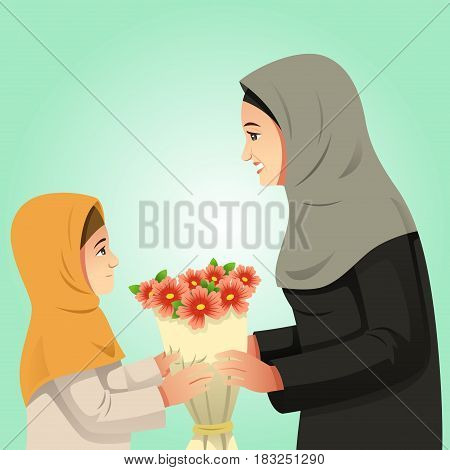 A vector illustration of Muslim Girl Giving Flowers to Her Mother