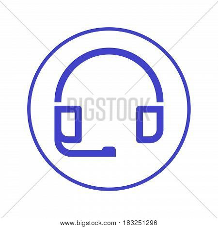 Customer support headset circular line icon. Round sign. Flat style vector symbol