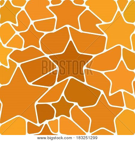 abstract vector stained-glass mosaic background - orange and brown stars