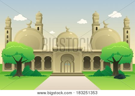 A vector illustration of Islamic Mosque During Daytime