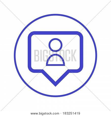 Person pin circular line icon. Round sign. Flat style vector symbol