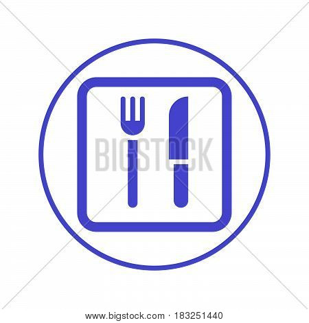 Fork and knife restaurant circular line icon. Round sign. Flat style vector symbol