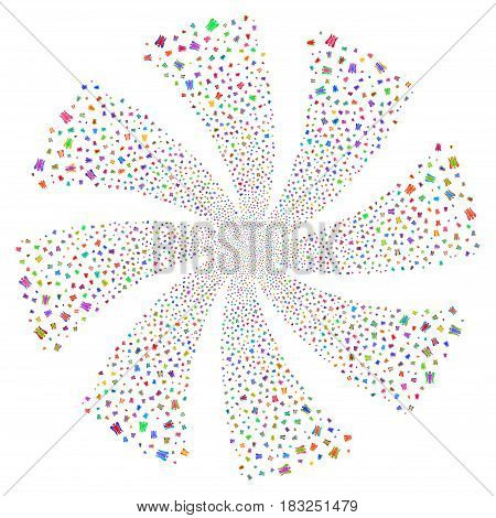 Angel fireworks swirl rotation. Vector illustration style is flat bright multicolored iconic symbols on a white background. Object whirl done from random design elements.