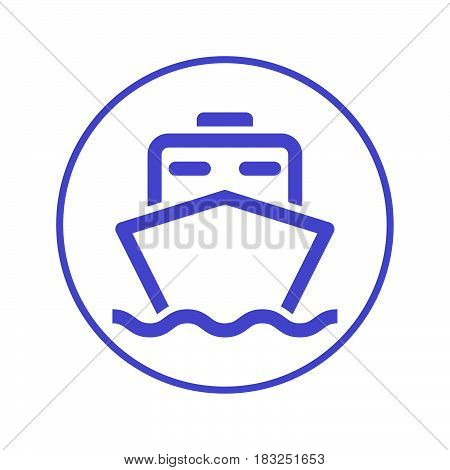 Ship boat circular line icon. Round sign. Flat style vector symbol