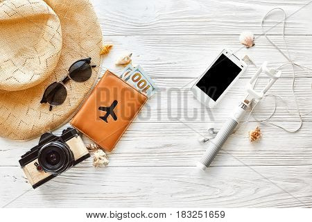 Summer Travel Vacation Concept Flat Lay, Space For Text. Selfie Stick Phone Camera Passport Money Pl
