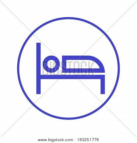 Bed circular line icon. Round sign. Flat style vector symbol