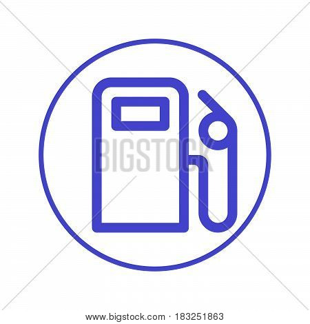 gas station circular line icon. Round sign. Flat style vector symbol