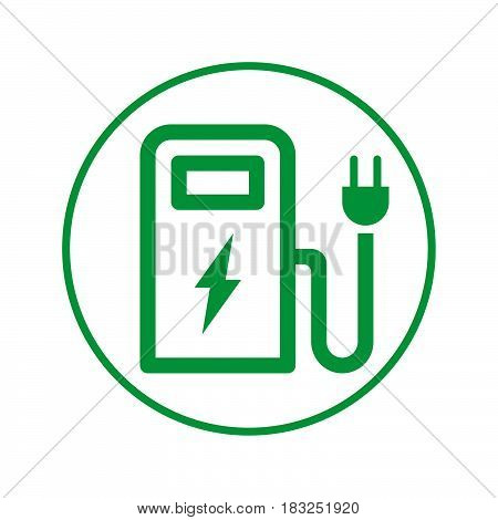 Charging station circular line icon. Round sign. Flat style vector symbol