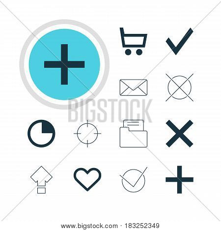 Vector Illustration Of 12 Interface Icons. Editable Pack Of Yes, Displacement, Envelope And Other Elements.