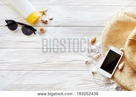 Summer Travel Vacation Concept, Flat Lay, Space For Text. Phone With Empty Screen And Sunglasses And