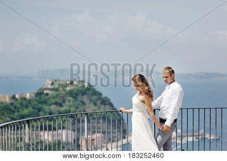 Beautiful young couple in wedding day in Naples Italy