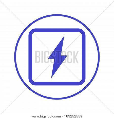 Electric power lightning bolt circular line icon. Round sign. Flat style vector symbol