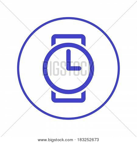 Wristwatch circular line icon. Round sign. Flat style vector symbol