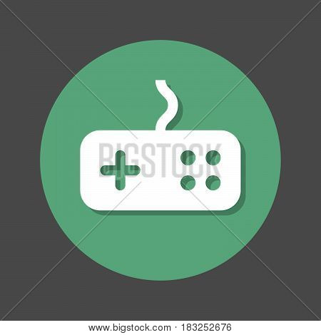 Game gamepad flat icon. Round colorful button circular vector sign with shadow effect. Flat style design