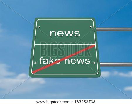 Media Concept Road Sign: News Instead of Fake News 3d illustration