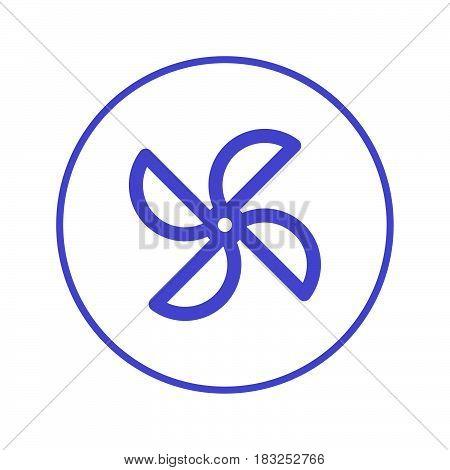 Paper windmill pinwheel circular line icon. Round sign. Flat style vector symbol