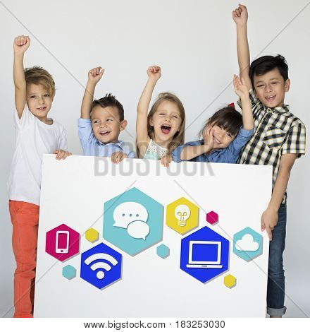 Children with modern technology icons