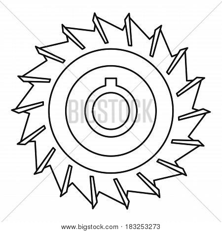 Circular saw disk icon in outline style isolated on white background vector illustration