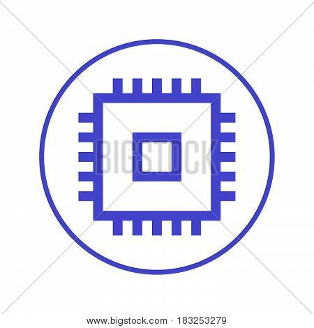 Chip CPU circular line icon. Round sign. Flat style vector symbol