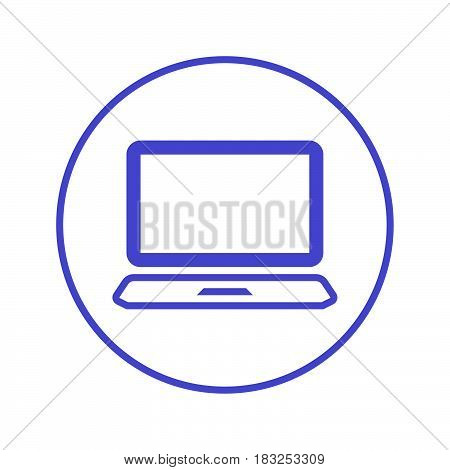 Laptop circular line icon. Round sign. Flat style vector symbol