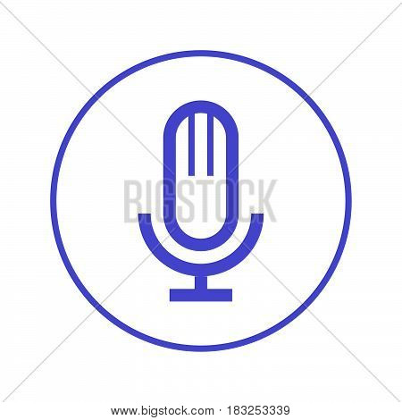 Old microphone circular line icon. Round sign. Flat style vector symbol