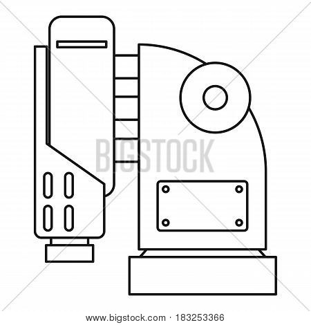 Pneumatic hammer machine icon in outline style isolated on white background vector illustration