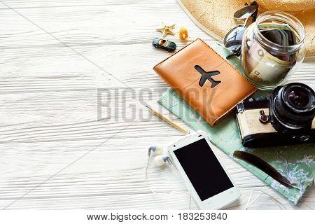 Summer Travel Wanderlust Concept, Space For Text. Map Camera Sunglasses  Passport Money Phone Hat Sh