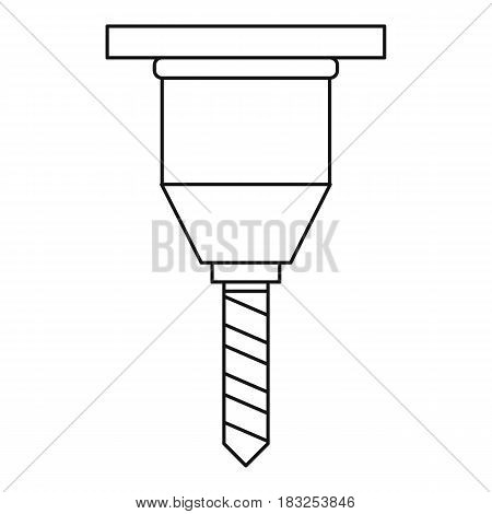 Drill bit icon in outline style isolated on white background vector illustration