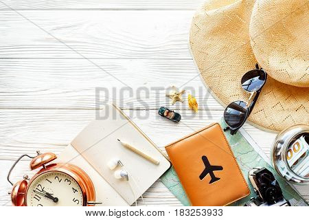 Time To Travel Concept, Space For Text. Map Camera Passport Money Phone With Empty Screen Sunglasses