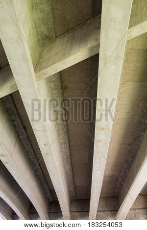 Interstate 5 or I5 bridge underside in Eugene Oregon.