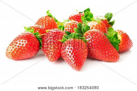 heap of ripe strawberries on white background