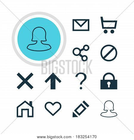 Vector Illustration Of 12 Interface Icons. Editable Pack Of Mainpage, Female User, Wheelbarrow And Other Elements.