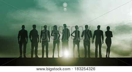 Business People Group Standing Together in Unity 3D Illustration Render