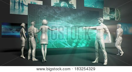 Biotechnology Research Concept with Virtual Presentation Background 3D Illustration Render