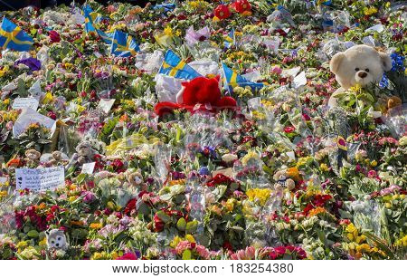STOCKHOLM, SWEDEN - April 11, 2017: Floral Tributes in Stockholm, truck attack.