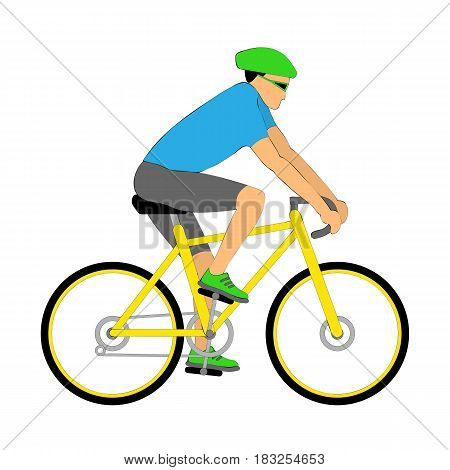 Vector illustration riding cyclist on the bicycle. Isolated on the white. eps 10.