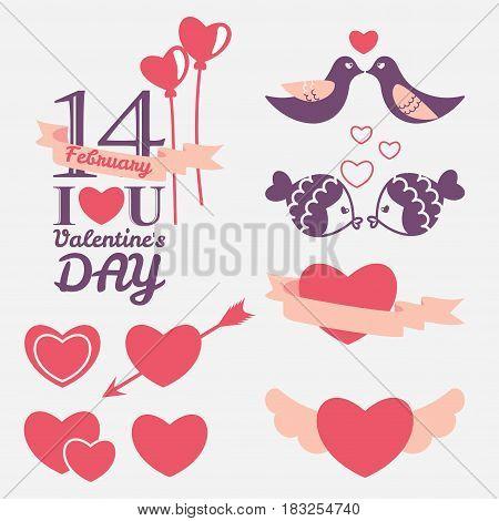 14 February Valentine's day design elements set