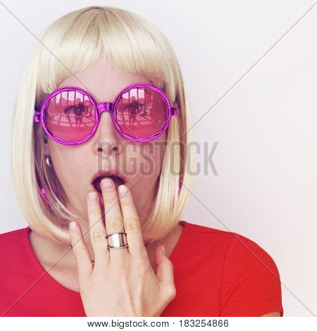 Woman Wearing Blonde Hair Wig Surprise Face Expression Studio Portrait