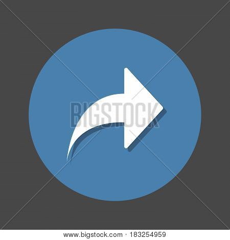 Arrow right forward flat icon. Round colorful button circular vector sign with shadow effect. Share flat style design