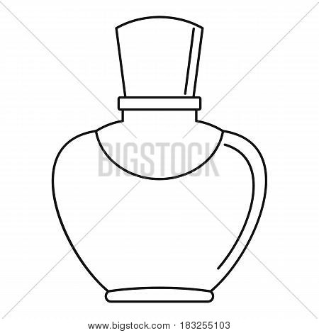 Glass bottle with perfume icon in outline style isolated on white background vector illustration