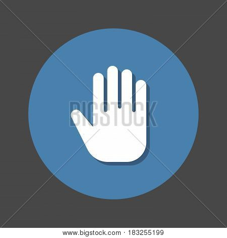 hand flat icon. Round colorful button circular vector sign with shadow effect. Flat style design