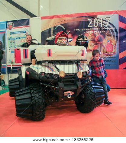 St. Petersburg Russia - 15 April, Special transport for off-road,15 April, 2017. International Motor Show IMIS-2017 in Expoforurum. Motorcycles and motoconcepts presented at St. Petersburg Motor Show.