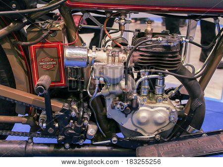 St. Petersburg Russia - 15 April, The ancient Harley-Davidson engine,15 April, 2017. International Motor Show IMIS-2017 in Expoforurum. Motorcycles and motoconcepts presented at St. Petersburg Motor Show.