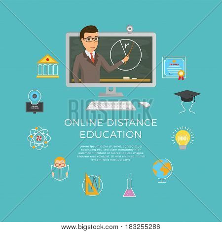 Distance education, learning. The student listens to the lecture of the teacher sitting at home at the computer. Vector illustration.