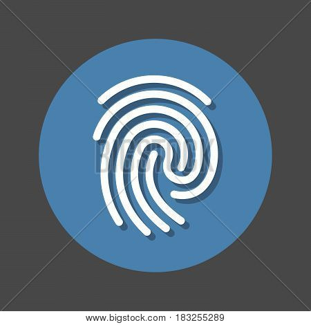 Fingerprint flat icon. Round colorful button circular vector sign with shadow effect. Flat style design