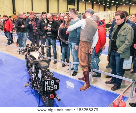 St. Petersburg Russia - 15 April, Group of Moto Salon visitors,15 April, 2017. International Motor Show IMIS-2017 in Expoforurum. Visitors and participants of the annual moto-salon in St. Petersburg.