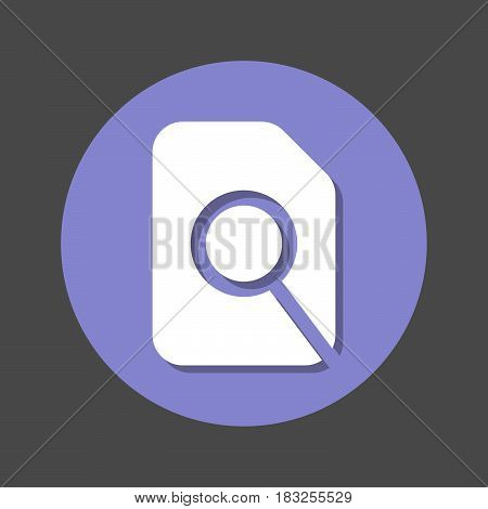 Search in file magnifying glass and document flat icon. Round colorful button circular vector sign with shadow effect. Flat style design